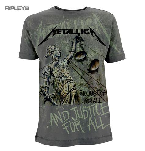 official t shirt metallica metal grey justice ao neon all