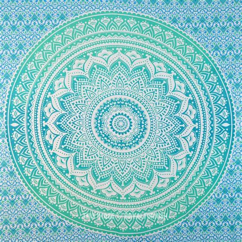 small green floral circle ombre wall tapestry mandala
