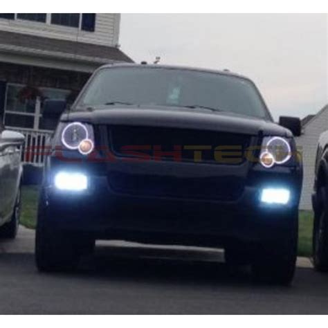 ford explorer white led headlight halo kit