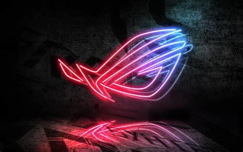 wallpaper asus rog neon logo