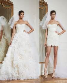 Zuhair Murad Collection Unique Fashion Designer Lace Wedding Gown Strapless Short A-line Bridal Dress with Detachable Train