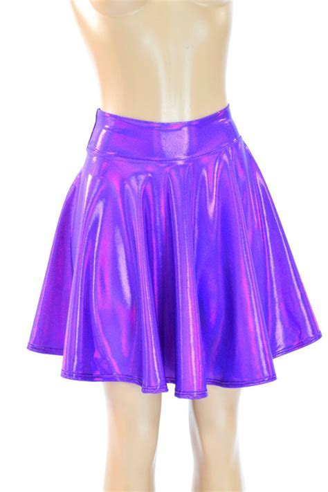 Purple Holographic Metallic Skater Skirt from Coquetry Clothing