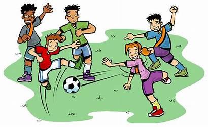 Clipart Football Soccer Team Playing Children Basketball