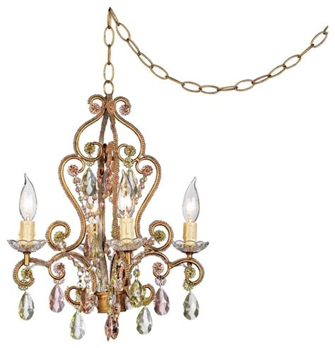 plug in chandelier lighting crystal pink and citron swag plug in style 4 light