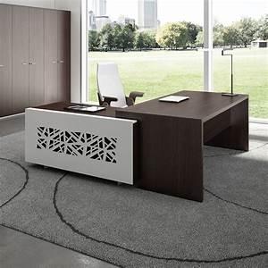 Bureau En Metal : t desk 04 bureau directionnel avec meuble de rangement en m tal et lamin disponible en ~ Nature-et-papiers.com Idées de Décoration