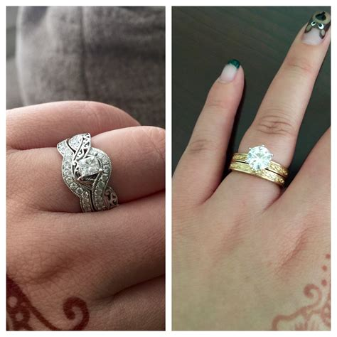 how should i wear my two engagement rings wedding sets during the ceremony