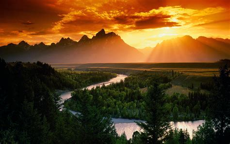 Sunset Mountains Clouds Landscapes Sun Forest Rivers