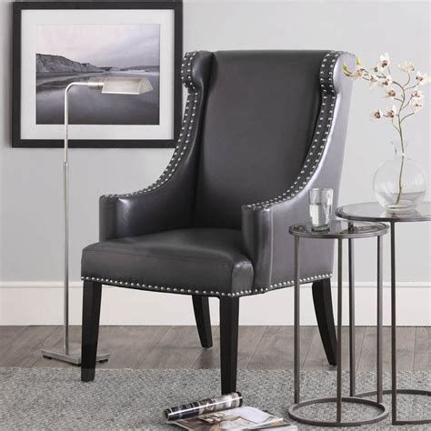 stansbury grey bonded leather wing chair