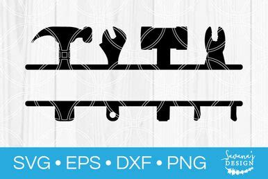 tool set split monogram svg svg eps png dxf cut files  cricut  silhouette cameo