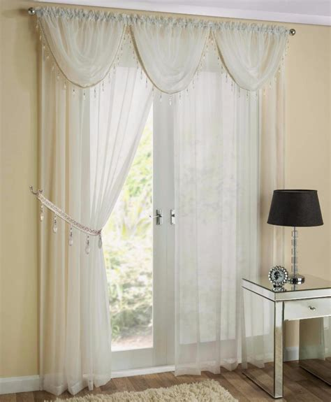 White And Silver Valance by Sapphire Sheer Voile Silver Beaded Swag X1 Drape Pelmet