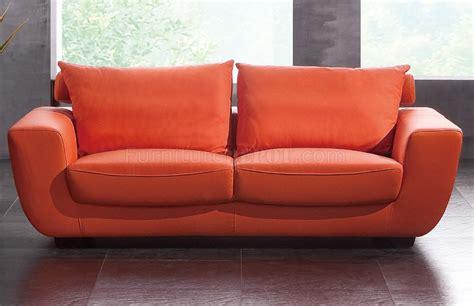 contemporary sofa and loveseat orange top grain leather modern sofa w optional chair
