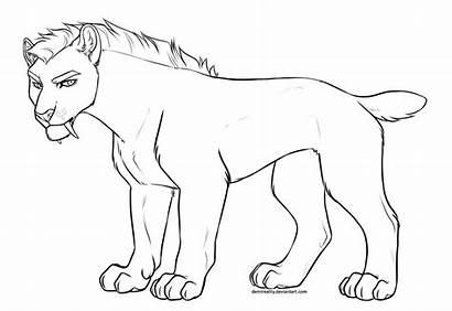 Lineart Smilodon Deviantart