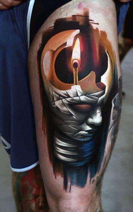 tattoo abstract mind light fire leg tattoo men