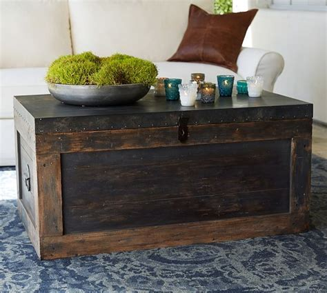 pottery barn trunk coffee table conway trunk
