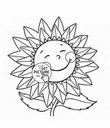 Sunflower Coloring Pages Flower Cartoon Drawing Smiling Flowers Power Printable Sunflowers Wuppsy Elvis Printables Christmas Template Getdrawings Presley Colouring Vector sketch template