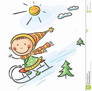 Girl's Winter Activities: Sledging Stock Vector ...