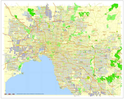 filefree printable  editable vector map  melbourne