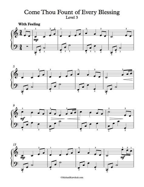 level 3 free piano arrangement sheet music come thou fount of every blessing music