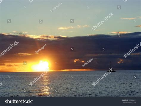 Boat From Hawaii To Maui by Boat Sailing Sunset Maui Hawaii Stock Photo 577046431
