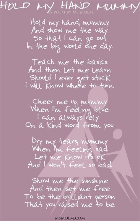 hold  hand mummy  poem  ms moem mothers day