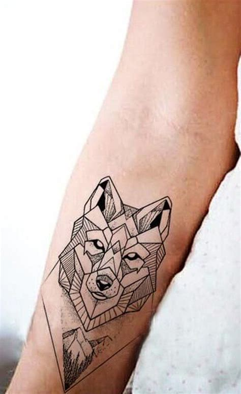 sanaer geometric wild wolf nature animal temporary tattoo tatuaggi tattoos tattoo designs