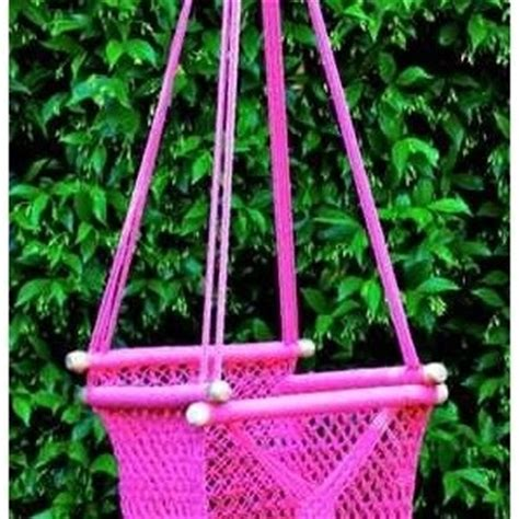 pink crocheted baby chair swing
