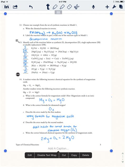 worksheets science review chemical  physical