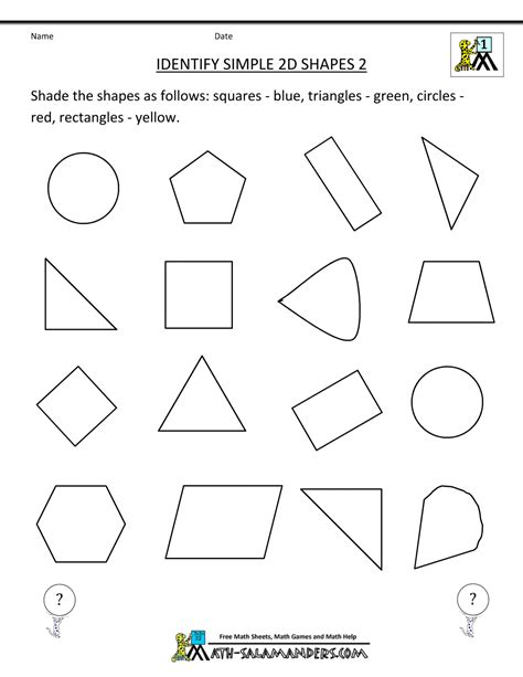 free printable geometry worksheets identify simple 2d