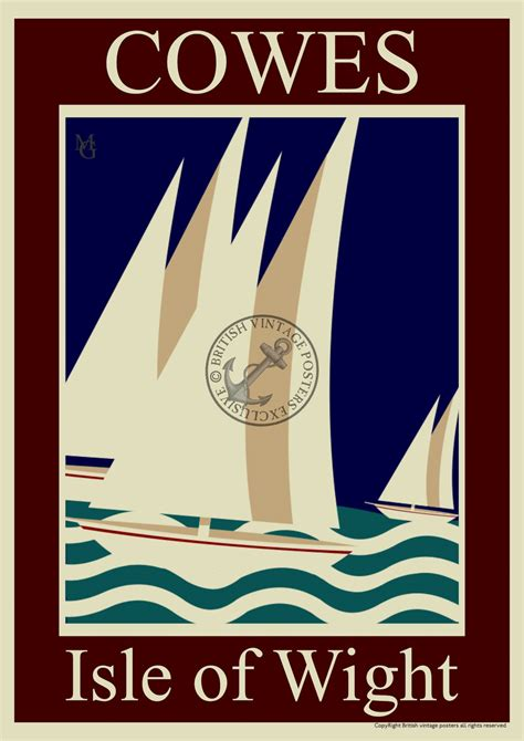 deco poster sailing at cowes deco poster