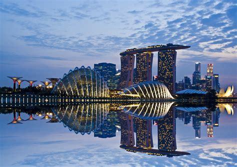 cityscape architecture reflection singapore marina bay