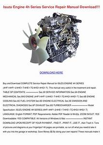 Isuzu Engine 4h Series Service Repair Manual By Shonta