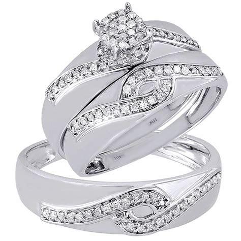 trio 10k white gold engagement ring mens wedding band 33 ct ebay
