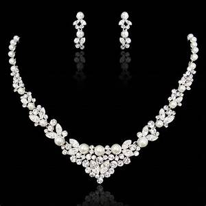 bridal wedding necklace earring set clear swarovski With parure bijoux mariage swarovski