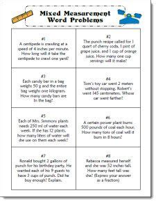 mixed measurement word problem task cards  cooperative