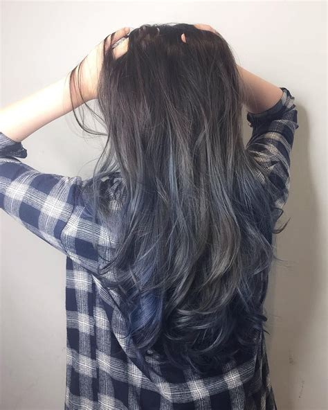 Blue Grey Ash With Ombré Balayage Cleo Hair