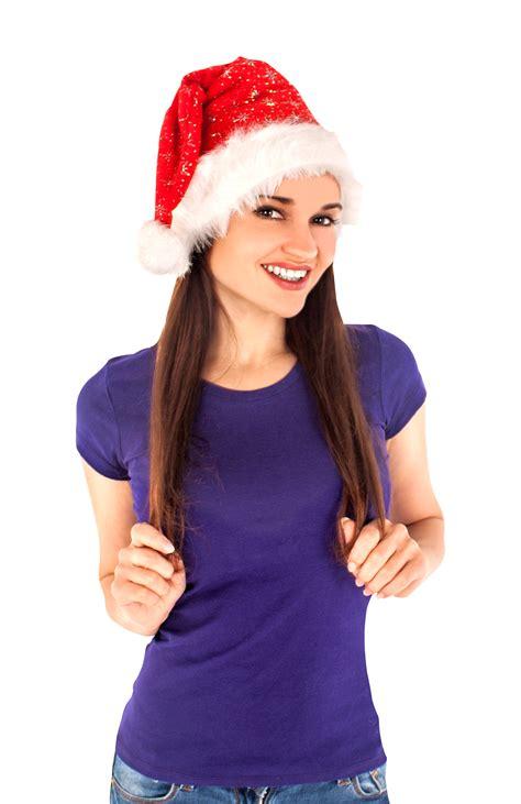 christmas santa hat woman png image pngpix
