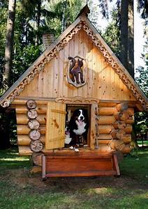 this cool log cabin style dog house is something any pooch With log cabin dog kennel