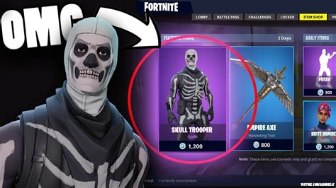 skull trooper returning   fortnite store skull skin