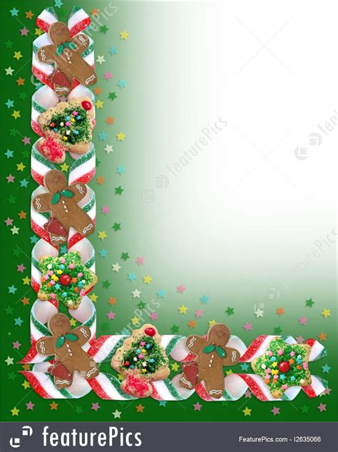 christmas border cookies  candy illustration
