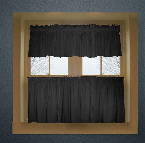 black color tier kitchen curtain  panel set