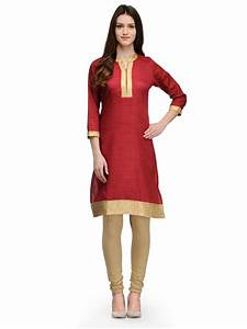 Buy GAAMI Banarasi denim effects fabric combined with jacquard bounchie border kurti Online in ...