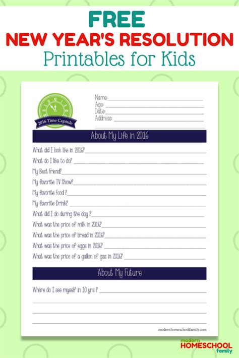 new year resolutions printable kid free free new year s printables for