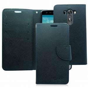 LG G3 BLACK LEATHER WALLET CASE - CANVAS 2 TONE WALLET ...