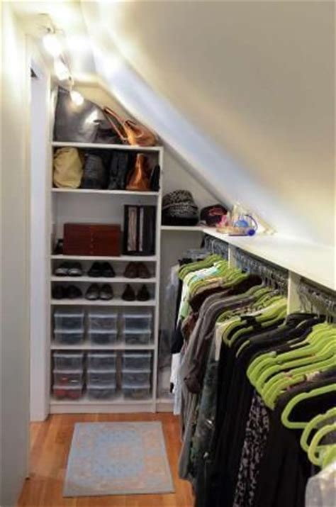 closet solution for angled ceiling in coat closet