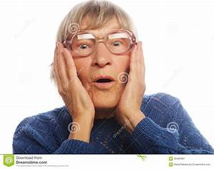 Old Woman With Surprised Expression Stock Photo - Image ...