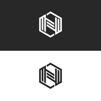 logo  letter monogram geometric shape   hexagon black