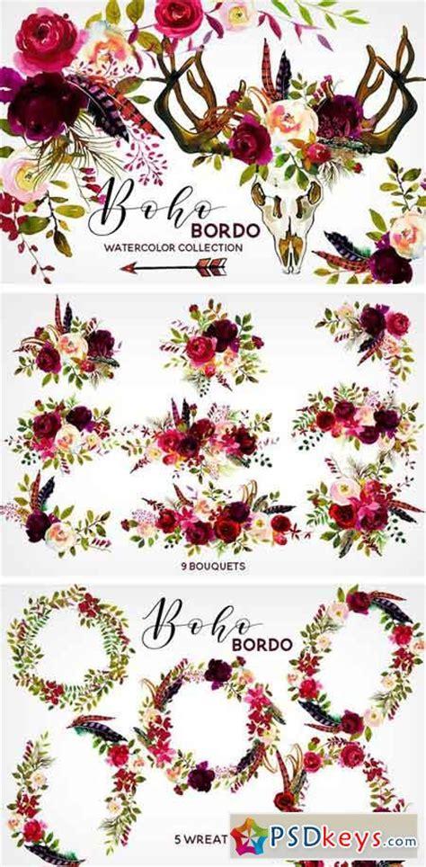 boho bordo watercolor flowers