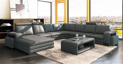 deco in 1 canape d angle panoramique cuir gris 10 places havane gauche havne gris m2a2