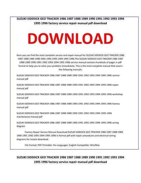car repair manuals online pdf 1989 suzuki sidekick free book repair manuals suzuki sidekick geo tracker 1986 1987 1988 1989 1990 1991 1992 1993 1994 1995 1996 service