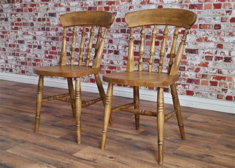 rustic farmhouse beech dining chairs with spindle backs